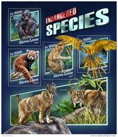 SIERRA LEONE 2017 ** Endangered Species Wild Cats Wildkatzen M/S - OFFICIAL ISSUE - DH1746 - Raubkatzen