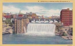 New York Rochester Upper Falls Genesee River Curteich