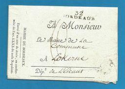 (W2-09) France - LSC De Bordeaux (32BORDEAUX Noir) Vers Lokeren - 1801-1848: Precursores XIX