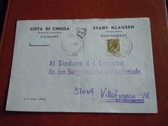 TEMATICA BUSTE COMUNALI - COMUNE DI  CHIUSA  1969 - Buste