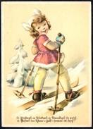 A9046 - Glückwunschkarte - Mädchen Auf Skier - Emil Köhn Kunstverlag Künstlerkarte - Beschr. 1942 - Feiern & Feste
