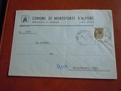 TEMATICA BUSTE COMUNALI - COMUNE DI MONTE FORTE D ALPONE   1969 - Buste