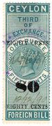 (I.B) Ceylon Revenue : Foreign Bill 80c On 1R 50c OP (Third) - Ceylon (...-1947)