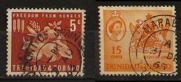 Trinidad & Tobago 1963 Freedom From Hunger 5c  1964 Coat Of Arms 15c Used - Trindad & Tobago (1962-...)