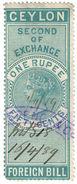 (I.B) Ceylon Revenue : Foreign Bill 1R 50c (Second) - Ceylon (...-1947)