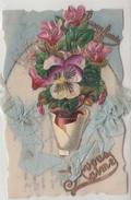 TRES JOLIE CARTE-BONNE ANNEE Je Vous Aime-carte A Systéme-carte Celluloïde-Ajoutis Fleurs Pot Ruban Soie-1916-TBE-2scans - Nouvel An