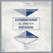 Suikerwikkel.- Embalage De Sucre. ROOZENDAAL STATIONSRESTAURANT. W Van Oordt & Co. Rotterdam - Suiker