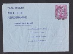 Ethiopia: Stationery Aerogramme To Czechoslovakia, 1988, Capricorn Animal (damaged: Creases) - Ethiopië