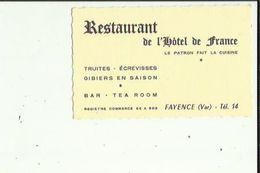 Carte De Visite Du  Restaurant De L'HOTEL De FRANCE  _Patron En Cuisine  A FAYENCE 83  Voir Scan Details - Cartoncini Da Visita