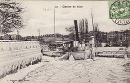 Geneve En Hiver - Bateaux Pris Dans La Glace - GE Genève