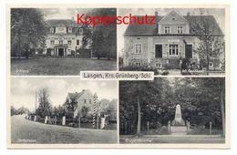 Läsgen Ca. 1935, Kreis Grünberg - Schloss, Dorfstrasse, Warenhandlung, Kriegerdenkmal - Schlesien