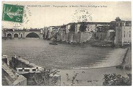 CP 813  CPA De Villeneuve Sur Lot (47) Le Moulin, L'Ecluse, Le Collège Et Le Pont - Villeneuve Sur Lot