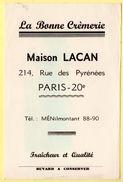 Buvard La Bonne Crèmerie, Maison Lacan,rue Des Pyrénées, Paris XXème. - Dairy