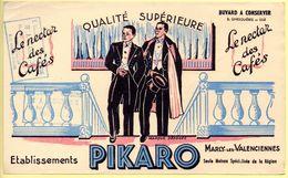 Buvard Café Pikaro, Marly Les Valenciennes. Tampon Epicerie Mercerie J.Blanchevoye à Fourmies - Café & Thé