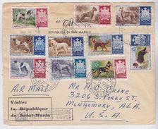 SAN MARINO 8.6.1956 FDC Serie Completa Cani Viaggiata Per Gli USA - San Marino