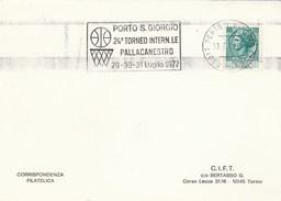 1977 International BASKETBALL TOURNAMENT EVENT COVER Card Italy PORTO S GIROGIO Stamps Sport Slogan - Basketball