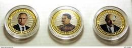 Russia, 2016, V.V.Putin, Lenin, Stalin 3 Colored 10 Rbl Rubles Rubels 3 Bi-metallic Coins - Russland
