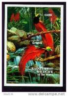 GHANA   1864 ;MINT NEVER HINGED SOUVENIR SHEET OF RAINFOREST WILDLIFE ; BIRDS - Oiseaux