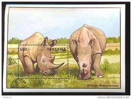 TANZANIA   1028  MINT NEVER HINGED SOUVENIR SHEET OF ANIMALS ; RNINOCEROS - Timbres
