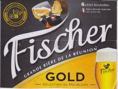 FISCHER BIERE BLONDE GOLD BRASSE A LA REUNION - Support PACK CARTONNE - Affiches