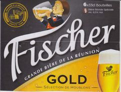 FISCHER BIERE BLONDE GOLD BRASSE A LA REUNION - Support PACK CARTONNE - Manifesti