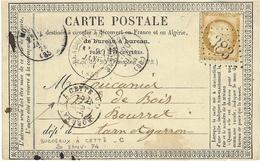 1874- C P Précurseur  De Beaumont De Lomagne ( T. & G. )  ) Cad T17 Affr. N°59 Oblit. G C 383 - Storia Postale