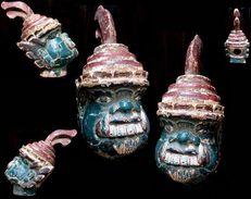 Tête De Marionnette De Théâtre Taw Belu / Great Vintage Burmese Puppet Head - Art Asiatique