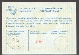 1980  Coupon Réponse 2 Skr - Entiers Postaux