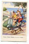 CPA Illustrateur : Enfants Sur Scooter Et Chien     A  VOIR  !!!!!!! - Andere Illustrators