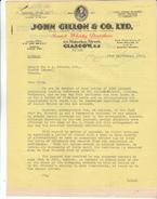 Ecosse, Scotland- Lettre De 1953 John GILLON Scotch Whisky,64 Waterloo Street Glasgow. Tb état.Illustrée. - Royaume-Uni