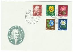 Suisse // Schweiz // Switzerland //  Pro-Juventute  // 1958 Série Complète Sur Lettre 1er Jour - Lettres & Documents