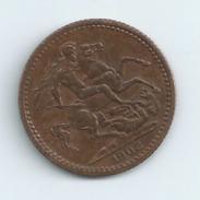 TOKEN Royaume Uni  VICTORIA QUEEN AND EMPRESS 1902 Diam;22 Mm Port 1 Euro - United Kingdom