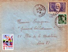 Lettre  De L'aube      Pour  Paris 8e  1938 - France