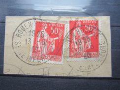 """VEND BEAU TIMBRE DE FRANCE N° 283e X 2 SUR FRAGMENT , OBLITERATION """" ROUEN - BOURSE """" !!!! - 1932-39 Peace"""