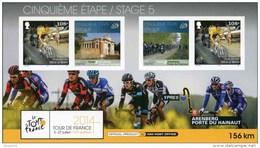 """Entier Postal De 2014 Sur CP Avec Timbre """"Eddy Merx"""" Et Illust. """"Tour De France 2014 - 5e Etape Ypres-Arenberg"""" - Ciclismo"""
