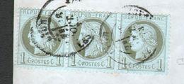Bande De 3 X N°50 Sur Fragment De Lettre - 1871-1875 Cérès