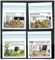 Rwanda 1991 ++  Alphabétisation, Education  N° 1380 / 83 NON DENTELE - 1990-99: Neufs