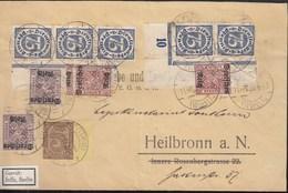 INFLA DR Dienst MiNr. 9x 33 A, 2x 59, 2x 63, 5x 69, 73 MiF, Geprüft: Peschl, Auf Brief Mit St: Lauterbach 11.MRZ 1923 - Infla