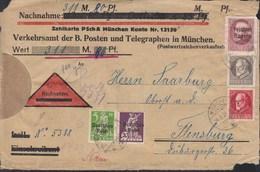 INFLA DR MiNr. 119, 122 + BAYERN 166 B, 98 II B, 114 B MiF, Geprüft, Auf Nachnahme-Briefstück Mit St: München 14.5.1920 - Deutschland