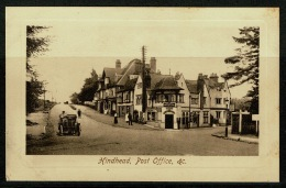 RB 1178 -  Early Postcard - Old Car & Hindhead Post Office - Surrey - Surrey