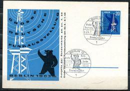"""Germany Berlin 1963 First Day Ausstellung Sonderkarte """"Deutsche Funkausstellung""""mit Mi.Nr.232 Und ESS""""Berlin""""1Karte Used - Factories & Industries"""
