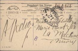 Guerre 14 Sur CPA Norvège Naeröfjord Sogn Censure Ouvert Autorité Militaire  12 Dieppe 110 Et T Taxe CAD Kristiania - Marcophilie (Lettres)