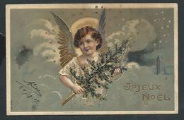 +++ CPA  - Carte Fantaisie - Voeux - Joyeux Noël - Enfant - Ange - Angelot - Embossed - Relief - Gaufrée - Dorure  // - Non Classés