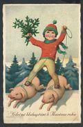+++ CPA  - Carte Fantaisie - Enfant - Cochon - Pig - Neige  // - Nouvel An