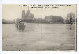 CPA Paris Inondé La Seine Vue Du Pont Des Tournelles N° 28 Noyer - Inondations De 1910