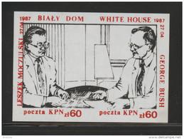 POLAND SOLIDARNOSC  SOLIDARITY (KPN) 1987 MOCZULSKI & PRESIDENT BUSH AT WHITE HOUSE SMALL MS - History