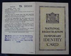 National Registration Temporary Identity Card Carte D'identité Provisoire Grande Bretagne United Kingdom - Documents Historiques