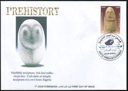 DZ - 2014 FDC Heads Of Owls Prehistory Prehistoire Neolitic Archeology Vorgeschichte Baetyls Betyles Tassili Owl - Prehistoria