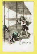 * Vliegtuig - Avion - Plane - Flugzeug * (3588) Fantaisie, Fantasy, Souvenir, Enfant, Child, Kind, Fleurs, Roses - Aerei