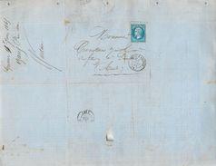 LETTRE Napoléon  20c Bleu 1865 De Gannac Près Foix à Limoux  2 Scans - Marcophilie (Lettres)